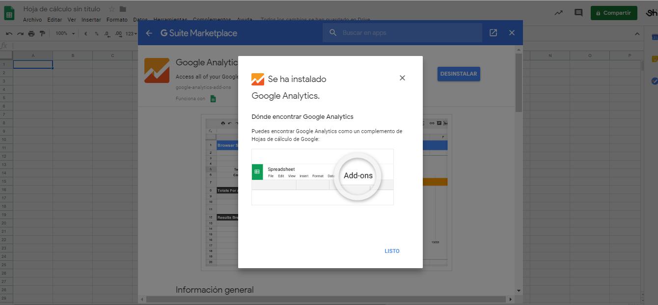 Complemento Google Analytics instalacion