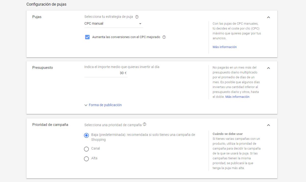 Configuracion de pujas de google shopping
