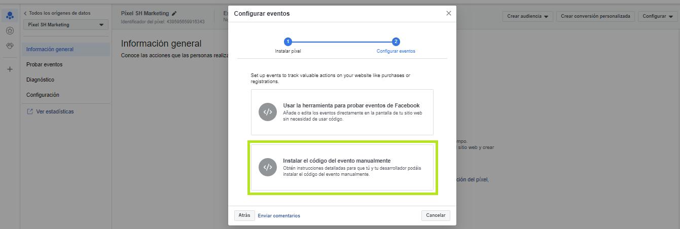 Configurar eventos de Facebook