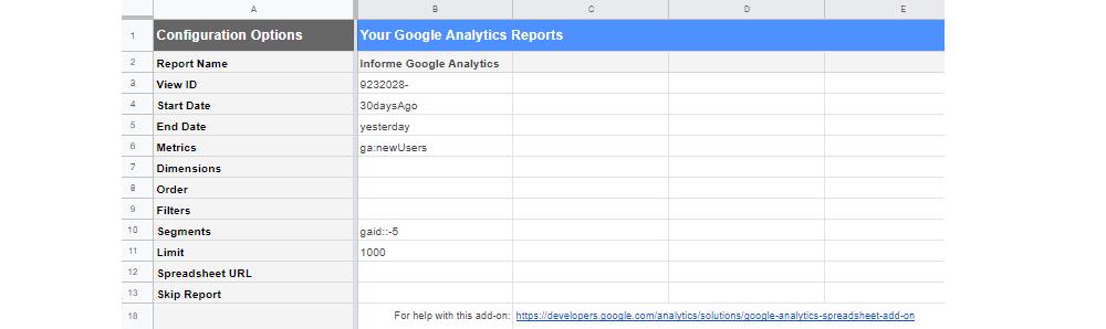 Configuration Options Google Analytics Google Sheets