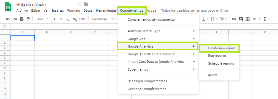 Crear informe Analytics Google Sheets