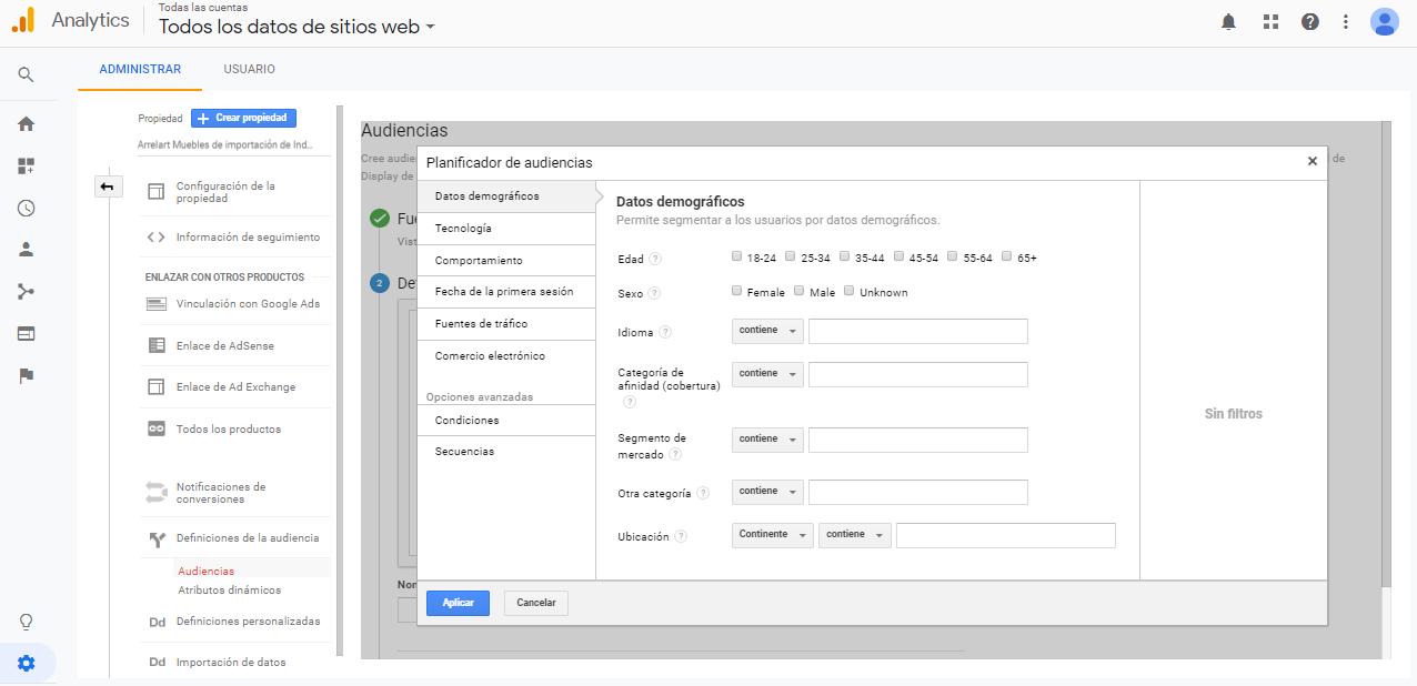 Crear lista de remarketing personalizada