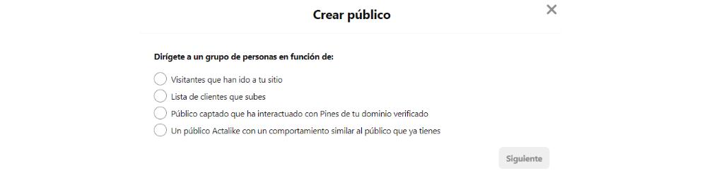 Crear publico Pinterset