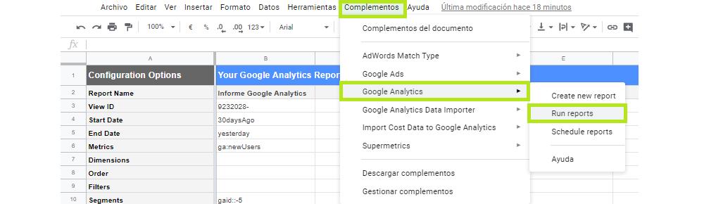 Ejecutar informes spreadsheets analytics