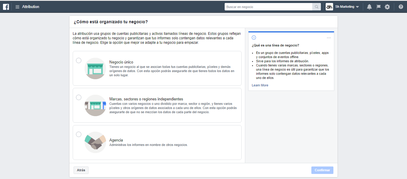 Facebook Attribution Organizacion de empresa