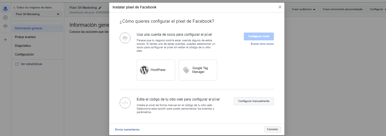 Instalar píxel de facebook
