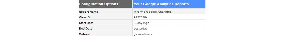 Parámetros obligatorios Google Sheets Analytics