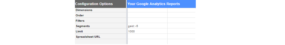 Parámetros opcionales Google Sheets Analytics