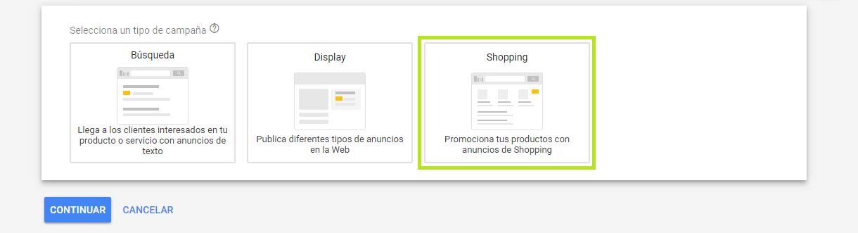 Tipo de campaña google shopping