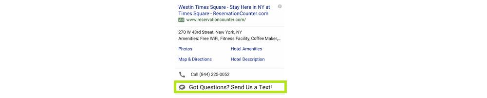 extensiones de SMS Google Ads SEM